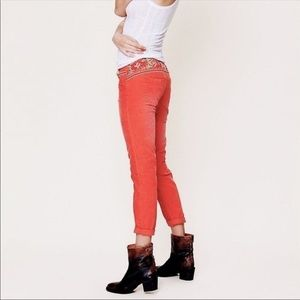 Free People Coral Embroidered Skinny Corduroy Pant